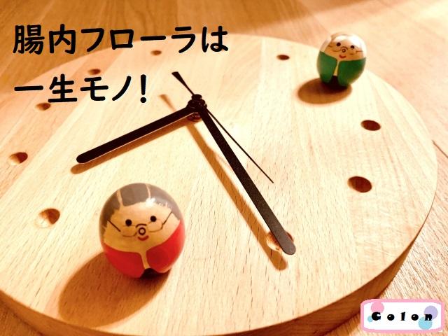 木の時計の上に置かれた高齢者の人形